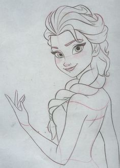 Final clean up drawing. Pencil and paper. Final clean up drawing. Pencil and paper. Frozen Drawings, Disney Drawings Sketches, Girl Drawing Sketches, Disney Princess Drawings, Art Drawings Sketches Simple, Cartoon Drawings, Cute Drawings, Cartoon Art, Drawing Disney