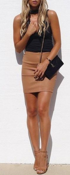 #summer #kookai #australia #outfits |  Black Cami Top + Camel Leather Skirt