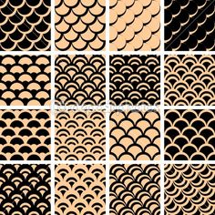 Seamless patterns set fish scales