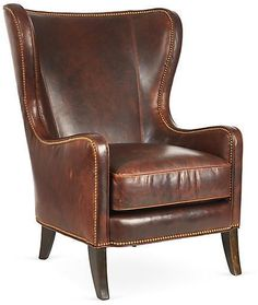 Massoud Furniture Dempsey Wingback Chair, Bourbon Leather, Upholstered in sumptuous leather, this wingback chair will bring a quiet stateliness to any setting. Gleaming nailhead trim accentuates the classic silhouette. Handcrafted in the USA. Leather Wingback Chair, Leather Furniture, Leather Sofa, Leather Chairs, Brown Furniture, Luxury Furniture, Brown Leather, Living Room Chairs, Living Room Furniture