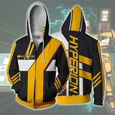Borderlands Hyperion Hoodies - Zip Up Yellow Hoodie Zip Up Hoodies, Mens Sweatshirts, Printed Hoodies, Anime Hoodies, One Piece Hoodie, Borderlands 2, Yellow Hoodie, Marvel, Hoodie Jacket