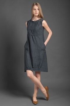 Pure linen dress dark gray dress for summer woman dresses