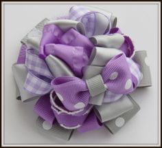Lavender and Grey Flower Stack Hair Bow