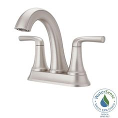 Pfister Ladera 4 in. Centerset 2-Handle Bathroom Faucet in Spot Defense Brushed Nickel-LF-048-LRGS - The Home Depot