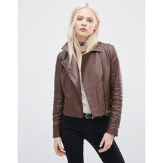 ASOS Leather Biker Jacket with Zip Detail (260 AUD) ❤ liked on Polyvore featuring outerwear, jackets, brown, belted leather jacket, real leather jackets, brown leather jacket, leather moto jacket and brown biker jacket