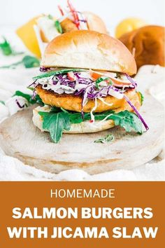 Fire up your griddles because these delicious salmon burgers are loaded up with a homemade jicama coleslaw and a dill dressing on toasted buns! Best Salmon Recipe, Easy Salmon Recipes, Fruit Recipes, Fish Recipes, Jicama Recipe, Pickled Red Cabbage, Jicama Slaw, Dill Dressing, Family Meals