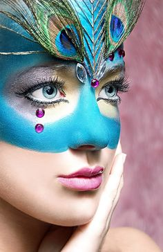 Peacock face makeup
