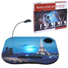Práctica mesa portátil multiusos. Imagen de París.  http://www.cosaspararegalar.es/ideas-para-regalar/regalos-practicos/mesas-tablet/mesa-portatil-paris.html