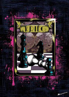 """""""Krieg"""" Affiche originale, créée à partir d'une dessin Noir et Blanc retravaillé sur ordinateur. Entre art illustratif et peinture numérique, cette affiche aux allures de tatouage est disponible en format A3 où sur commande en format: 40*60 cm à 16€ et 80*120 cm à 40 euros."""