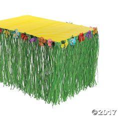 Hibiscus Green Table Skirt - OrientalTrading.com