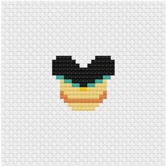 Wow check out this brilliant photo - what a very creative project Tiny Cross Stitch, Beaded Cross Stitch, Crochet Cross, Disney Mouse Ears, Mickey Mouse And Friends, Disney Cross Stitch Patterns, Cross Stitch Designs, Perler Bead Art, Perler Beads