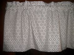 White Gray Black Ogee Geometric fabric window topper curtain Valance  #Handmade #Novelty