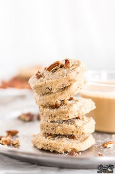 Buttery and perfect for fall, these Pumpkin Spice Pecan Shortbread Cookies can be enjoyed as such or with Pumpkin Spice Latte! Pumpkin Spice Pecans, Spiced Pecans, Pumpkin Spice Latte, Baking Recipes, Cookie Recipes, Dessert Recipes, Blueberry Yogurt Cake, Pecan Shortbread Cookies, Homemade Food Gifts