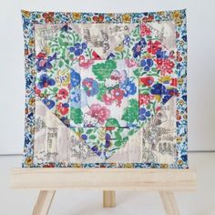 Use your fabric scraps to make this heart mini quilt to display in your home. More details on my blog. thanks so xox ☆ ★   https://uk.pinterest.com/peacefuldoves/