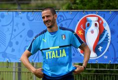 "Leonardo Bonucci of Italy smiles during the training session at ""Bernard Gasset"" Training Center on June 16, 2016 in Montpellier, France."