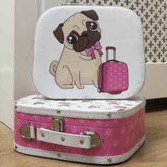 Travelling pug - set of 2 rounded suitcases with cute pug design #pug #giftware