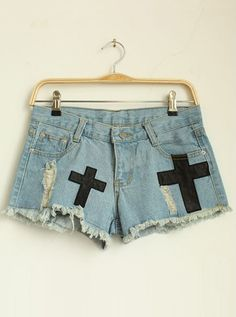 Cross Patch Denim Shorts With Holes, now only $39!  Save to win earrings here:http://www.udobuy.com/article-40.html
