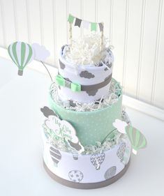 Hot Air Balloon Baby Shower Diaper Cake Decoration, Mint Gray Up Up and Away Baby Shower Diaper Cake, Gender Neutral Diaper Cake Gift Baby Shower Diapers, Baby Shower Gifts, Baby Gifts, Nappy Cakes, Diy Diaper Cake, Salty Cake, Baby Shower Balloons, Savoury Cake, Mini Cakes