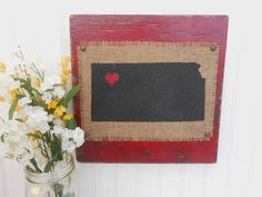 KANSAS red or other color burlap distressed 12 by OldAndNewShoppe
