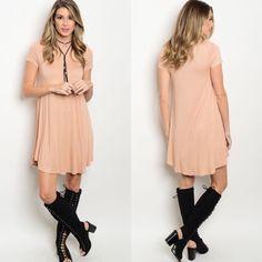 Peach Short Sleeve Jersey T-Shirt Tunic Dress