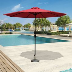 PATIOROMA 9 Feet Outdoor Aluminum Patio Umbrella With Tilt And Crank 8 Ribs  Polyester Canopy Red