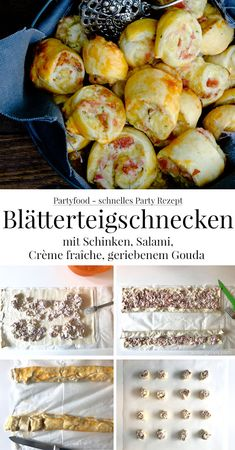 Quick party recipe: puff pastry snails with ham, salami and cheese. - Quick party recipe: puff pastry snails with ham, salami, crème fraîche, grated Gouda Pizza Snacks, Snacks Für Party, Appetizers For Party, Pizza Recipes, Appetizer Recipes, Fingerfood Party, Salami And Cheese, Party Finger Foods, Creme Fraiche