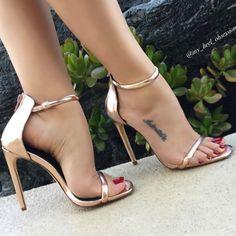 Metallic Ankle Strap Sandal Heels