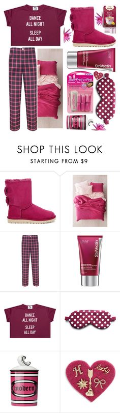"""""""Sleeping the blues away"""" by sunnydays4everkh ❤ liked on Polyvore featuring UGG, Urban Outfitters, Law of Sleep, StriVectin, Gucci and Design Lab"""