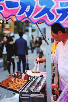 Castella Vendor - A popular Japanese sponge cake 'Kasutera' -  Meguro River, Tokyo, Japan