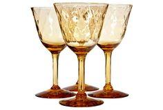 Diamond-Textured Amber Glass Stems, S/4