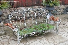 This beautiful old bench - it's artwork by itself!  Northwind Perennial Farm in Burlington, WI.