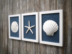 Cottage Chic Set of Beach Wall Art, Beach House Decor, Wall Art, Coastal Decor, Coastal Art, Pure White with Navy Blue Burlap by OMearasCottageCharm on Etsy https://www.etsy.com/listing/212036394/cottage-chic-set-of-beach-wall-art-beach