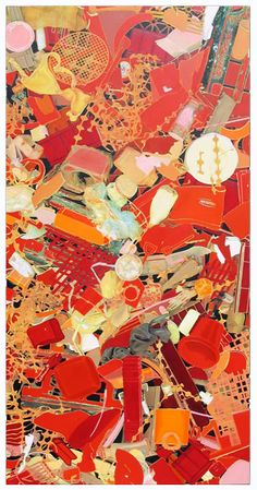 john dahlsen's red plastic litter painting made from found plastic ocean debris. Recycled Art Projects, Trash Art, Detailed Paintings, Plastic Art, Found Art, Assemblage Art, Environmental Art, Art Classroom, Figure Painting