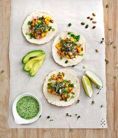 Miso-maple sweet potato tacos #Recipe #Food #Delicious #Asian #Vegetarian #Mexican