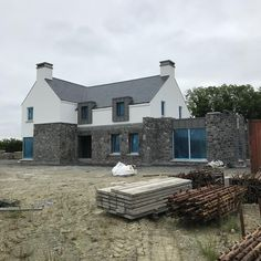 Morning site visit Scaffolding down and ready for zinc canopy Stone Exterior Houses, Stone Houses, Farmhouse Architecture, Architecture 101, Country Farmhouse Exterior, House Designs Ireland, Dormer House, House Outside Design, Build My Own House
