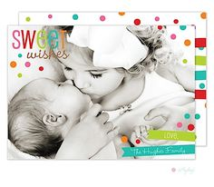 Sweet Wishes Christmas Flat Digital Birth Announcement Holiday Photo Card | Little Angel Announcements