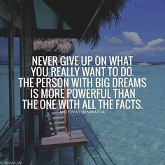 When the dream is big enough, the facts don't count!