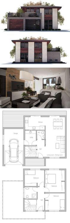 Planta de casa, arquitetura moderna, projeto de casa.