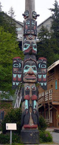 Chief Johnson Totem Pole in Ketchikan, Alaska - USA