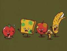 threadless gifs - Zombie Food by Ben Chen / Animated by Sem Brys Zombies, Cool Animated Gifs, Zombie Food, Funny Zombie, Les Gifs, Gif Animé, Humor Grafico, Arte Pop, Food Humor