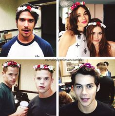 The cast in flower crowns aww (: