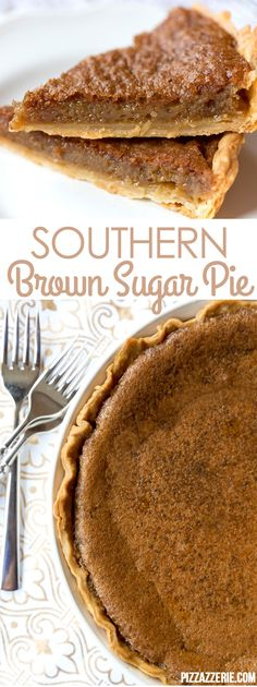 Southern Brown Sugar Pie Recipe, Must Try Dessert Southern Brown Sugar Pie! If you've never tried this brown sugar pie, it's a must! Köstliche Desserts, Delicious Desserts, Dessert Recipes, Yummy Food, Sweet Desserts, Holiday Desserts, Holiday Pies, Tasty, Christmas Recipes