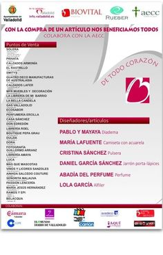 El lunes estaremos en #Valladolid junto a otras firmas para colaborar con #AECC en el proyecto #todocorazon #solidaria