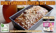 Honey-Cinnamon-Protein-Oat-Bread Protein Desserts, Protein Recipes, Protein Foods, Snack Recipes, Cooking Recipes, Healthy Recipes, Healthy Snacks, Healthy Eating, Herbalife Recipes