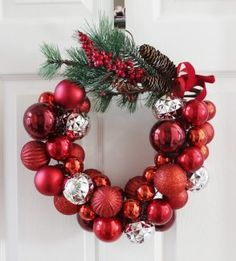 Save money this year with these DIY Dollar Store Christmas decorations! These Dollar Store Christmas Decor ideas are incredibly cute & easy! Christmas Ornament Wreath, Christmas Ornaments To Make, Christmas Wreaths, Christmas Crafts, Christmas Ideas, Ornament Wreath Hanger, Simple Christmas, Christmas Holidays, Wire Wreath