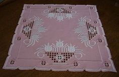 Hardanger Embroidery LightPink Doily with White Tulips Handmade from Germany   eBay