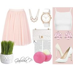 Sweet and cute outfit for spring2015. Tutu skirt ♥♥ by gabi-prikrylova on Polyvore featuring Topshop, Ted Baker, Jimmy Choo, River Island, Chanel, MARC BY MARC JACOBS, Swarovski, Charter Club, Pier 1 Imports and Eos
