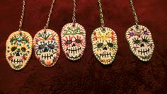 Dia de los muertos keychains - handmade with faux leather, embroidery yarn and beads/ sequins Leather Embroidery, Keychains, Sequins, Beads, Christmas Ornaments, Holiday Decor, Creative, Handmade, Day Of The Dead