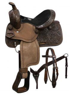 Double T pony saddle set with copper colored starburst conchos. This saddle features dark oil floral tooled skirts, pommel and cantle with rough out. Western Bridles, Western Horse Tack, Pony Saddle, Stirrup Leathers, Horse Supplies, Horse Gear, Headstall, Horse Love, Equestrian Style