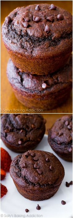 You will not even realize these double chocolate muffins are lightened-up and low fat!!